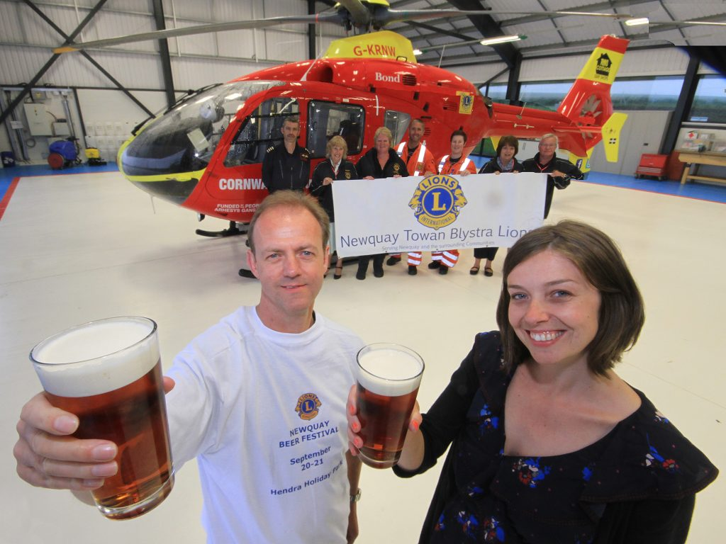 Lion Andy Hannan with Susie Smith from Cornwall Air Ambulance Trust